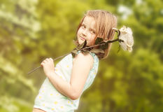 Young girl with rose Royalty Free Stock Image