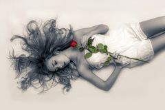 Young Girl, Rose, Man, Lady, Girl Stock Photography