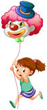 A young girl running with a clown balloon Stock Photography