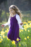 A young girl running through a field of daffodils in spring time Royalty Free Stock Image