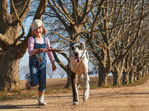 Young girl running with her dog great dane Stock Images