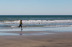 Young Girl Running After Seagull Stock Images