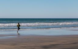 Young Girl Running After Seagull Royalty Free Stock Photo