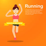 Young girl running and training for marathon sport Royalty Free Stock Photography