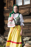 Young girl in Russian national costume Royalty Free Stock Photo