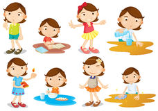 A young girl's daily activities. Illustration of a young girl's daily activities on a white background Royalty Free Stock Photos