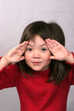 A young girl's expressions 2. A young girl shows her humorous expressions stock image