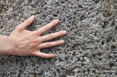 Young girl`s hand touching an ancient stone with cuneiform writings Royalty Free Stock Photo