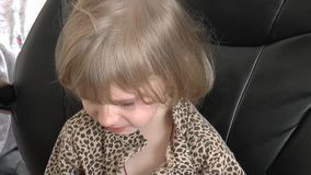 Young girl sad and crying stock video footage