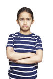 Young girl sad and upset. On white background Stock Photos