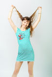 Young girl sailor laughing royalty free stock images