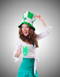 Young girl in saint patrick celebration concept Stock Images