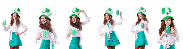 The young girl in saint patrick celebration concept Stock Photos