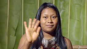 Young Girl Saluting The Viewer. In The Sense Of Good Bye In Ecuador stock video footage