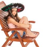Young girl in sambrero Stock Photo