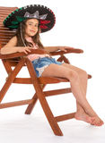 Young girl in sambrero Stock Photography