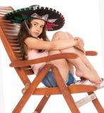 Young girl in sambrero Stock Photos