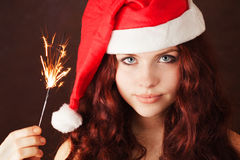 Young girl in santa claus hat Royalty Free Stock Photo