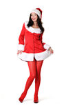 Young girl in santa clause costume Royalty Free Stock Photos