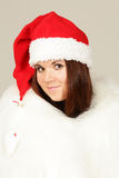 Young girl in santa hat Royalty Free Stock Image