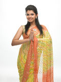 Young girl in sari in a welcome posture Royalty Free Stock Photos