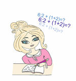 Young girl sat at her desk writing in a book. Illustration of a young girl sat at her desk writing in a book Royalty Free Stock Photography