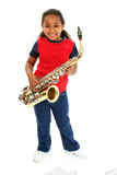 Young Girl and Saxaphone. Beautiful African American girl holding a saxaphone. Shot with Canon 20D Stock Photo
