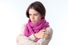 Young girl with  scarf folded her hands on the shoulders of isolated  white background Royalty Free Stock Photos