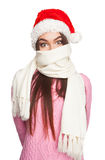 Young girl with scarf on her face Royalty Free Stock Images