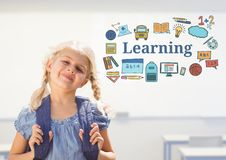 Young girl school with bag and Learning text with drawings graphics. Digital composite of Young girl school with bag and Learning text with drawings graphics royalty free stock image