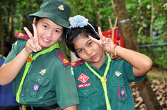 Young Girl Scout. Girl in girl scout uniform looking at the camera with a smile, Chumphon,Thailand Stock Images