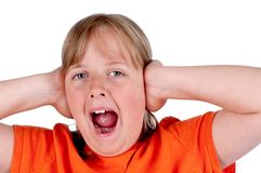 A young girl screaming and covering her ears Royalty Free Stock Photos