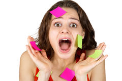 Young girl screaming in panic, a lot of work. Stickers Stock Photo