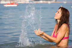 Young girl in the sea Stock Photography