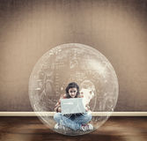 Young girl search a solution Royalty Free Stock Photos