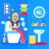 Young girl seating in the toilet with the smart phone and chats royalty free illustration