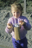 A young girl selling chocolate bars in Priest River, ID stock photo
