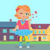 Young Girl Sent Air Kiss. Vector. Young girl sent air kiss. Little cartoon lady sent kisses. I love you, first date, Valentines Day. School girl give a wink Stock Images
