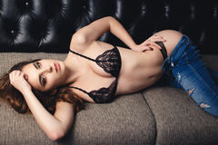 Young girl in a sexy lingerie Stock Photo