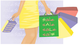Young girl with shop bags. Summer sale banner, Young girl with shop bags, vector Stock Photo