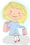 Young girl (shopaholic) returns home with profitable purchase Royalty Free Stock Images