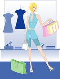 Young girl shopping Stock Images