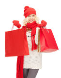 Young girl with shopping bags Royalty Free Stock Photos