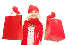 Young girl with shopping bags Stock Photography