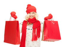 Young girl with shopping bags Royalty Free Stock Images