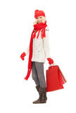 Young girl with shopping bags stock photos
