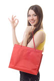 Young girl shopping happy Stock Photo