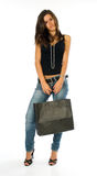 Young girl shopping holding bag Royalty Free Stock Images