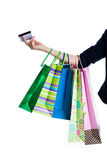Young girl after shopping Stock Images
