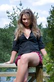 Young girl in short skirt